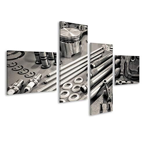 islandburner Cuadro Cuadros Colección de Piezas del Motor de precisión de automóviles Presenta en un Taller Impresión sobre Lienzo - Formato Grande - Cuadros Modernos