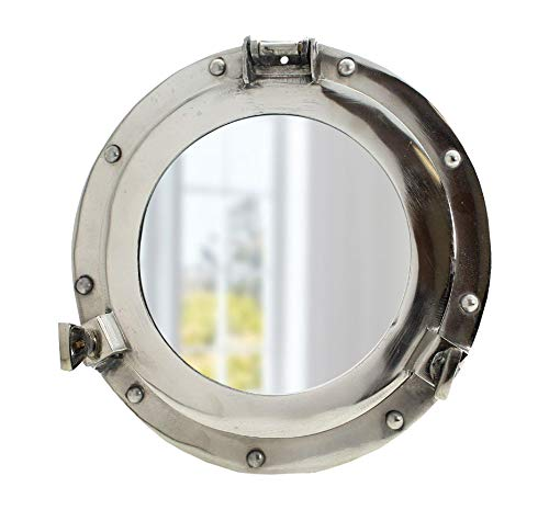Nautical Round Ship Porthole Windows - Maritime Nautical Home Decor/Boat Fan Gift (20' Chrome)