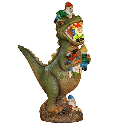 TERESA'S COLLECTIONS Large Garden Gnome Statues Massacre, Solar Powered Dinosaur Eating Gnomes Art , Funny Garden Sculpture for Outdoor Home Yard Decor, 8 Inches Tall