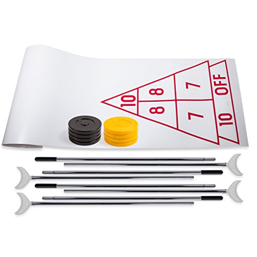 Champion Sports Economy Shuffleboard Set: Indoor Outdoor Game - 8 Pucks 4 Cue Sticks & Plastic Court