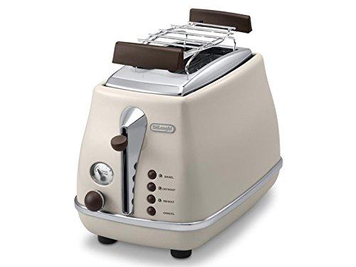 De'Longhi Toaster Icona Vintage CTOV2103.BG - 2-Schlitz-Toaster mit Brötchenaufsatz, Edelstahl in elegantem Retro Look mit Chrom-Details, beige