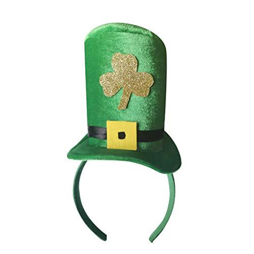 Moent Diadema irlandesa de San Patricio, decoracin festiva, de terciopelo dorado con purpurina, accesorio de disfraz