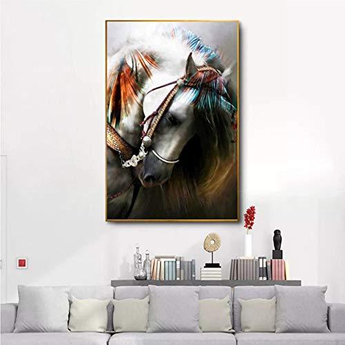 cuadros decoracion salon Pinturas en lienzo Carteles de animales Arte de pared contemporáneo Cuadros de cabeza de caballo Impresiones de decoración de sala de estar Pintura decoración -16x24in