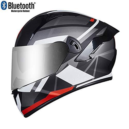 ZhangHai Bluetooth Motorradhelm Flip Modularer Helm Klapphelme Jethelme ECE Zertifiziert Mit Doppelt Visier Motocross Helm Roller Mofa Scooter-Helm Unisex Das Headset Arbeitet 6-8 Stunden