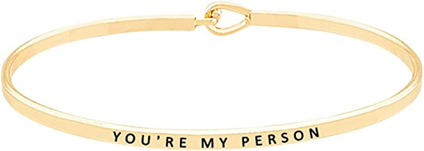 GLAM 'You're My Person'' Inspirational Quote Mantra Engraved Hook Bangle Cuff Bracelet