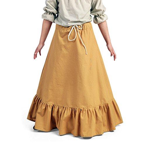 Elbenwald Jupe Médiévale à Volants pour Enfants Vêtement Longue Costume LARP Sable - 9/11 Jahre