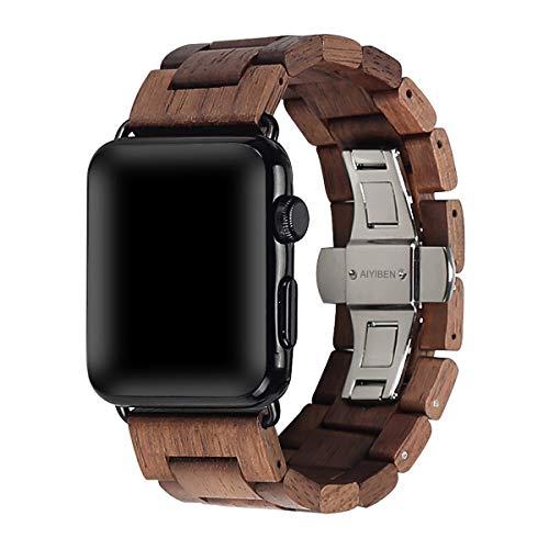 AIYIBEN Bracelet en bois avec boucle papillon en acier inoxydable 42mm/44mm compatible avec la série iWatch 1 2 3 4 5 (walnut)