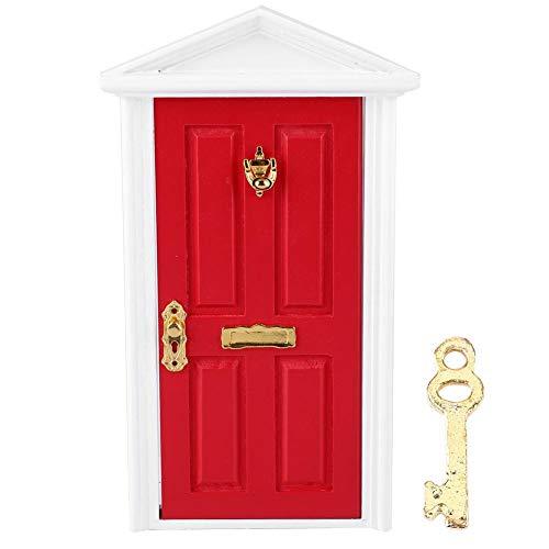 1:12 Porta di Legno per Casa Bambole Miniatura Simulazione Mini Porte Paesaggio Giocattoli Decorazione Ornamento Compleanno Natale Regalo per 3 4 5 6 7 Anni Bambino (Rosso)