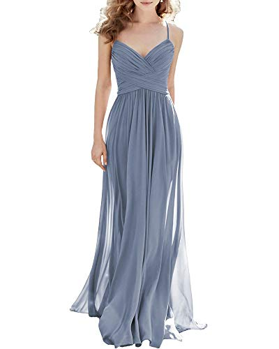 Noras dress A-Line Spaghetti Straps Bridesmaid Dresses Long Simple Chiffon Party Evening Gowns for Women Formal 2 Dusty Blue
