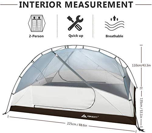 Forceatt Tienda de Campaña 2-3 Personas 100% Impermeable, Ventilación Doble Capa Peso Ligero Acampar Tienda, Fácil de… 2