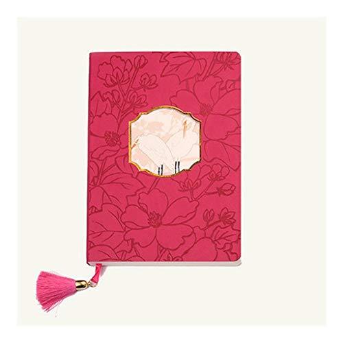 HJHJ Cuadernos Nota Hueco Estudiante Estilo Antiguo Ilustraciones, Libro de Cuentas portátil, de Escritorio A5 19.2 * 13.2cm 7.5 * 5.1 en Gobernado Diario de Papel blocs de Notas (Color : Red)