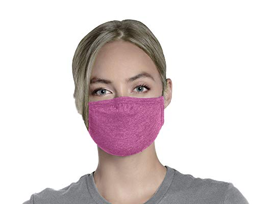 Pink Face Mask WITH HEAD STRAPS Reusable Washable With Nose Wire And Head Straps Soft Breathable Premium Poly Cotton Jersey Cloth Fabric For Men And Women 3 Layers For Added Protection 3 Ply