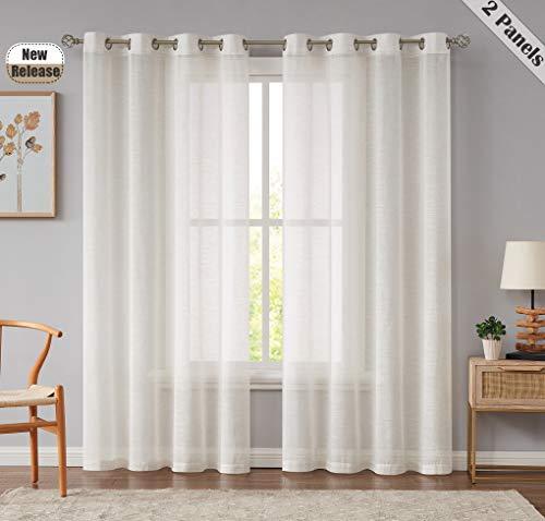 Beauoop - Set di 2 tende in lino naturale per soggiorno, camera da letto, decorazione per la casa, con filtro luminoso e finestra in stile vintage