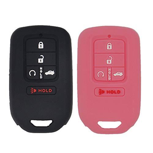 LemSa 2Pcs Keyless Entry Remote Car Smart Key Fob Outer Shell Cover Soft Rubber Protective Case for Honda Civic Accord Pilot CR-V Pilot EX EX-L 2019 2018 2017 2016 2015 A2C81642600, Black+Pink