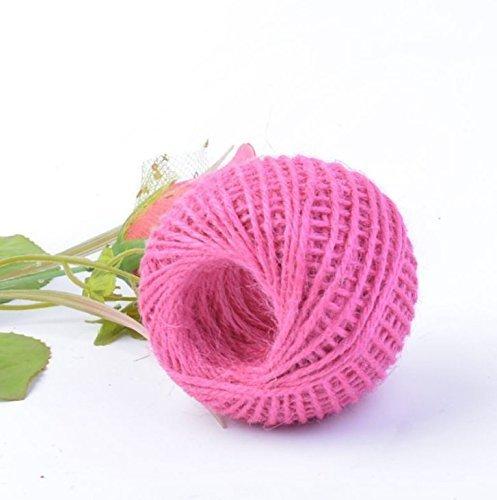 AK.SSI Corde en chanvre pour emballage cadeau, corde à boule, bricolage, décoration, bouteille en verre, 1 pièce, taille 50 m (rose rouge)