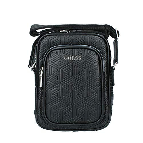 Guess Baldo Top Zip Crossbody, Backkack Hombre, Negro, Talla única