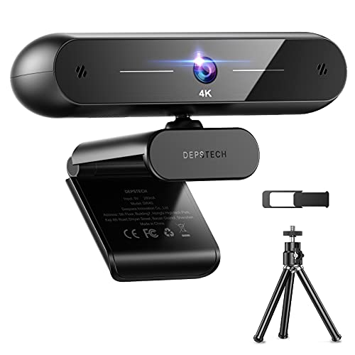 4K Webcam, 2021 DEPSTECH Autofocus Webcam with Microphone 8MP HD Web Camera with Sony Sensor, Privacy Cover and Tripod, Plug and Play USB Computer Streaming Webcam for Laptop PC/Video Call/Skype/Zoom