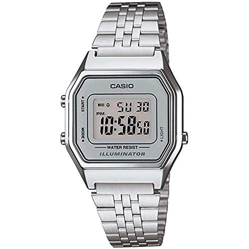 Casio Ladies Mid-Size Silver Tone Digital Retro Watch LA-680WA-7DF