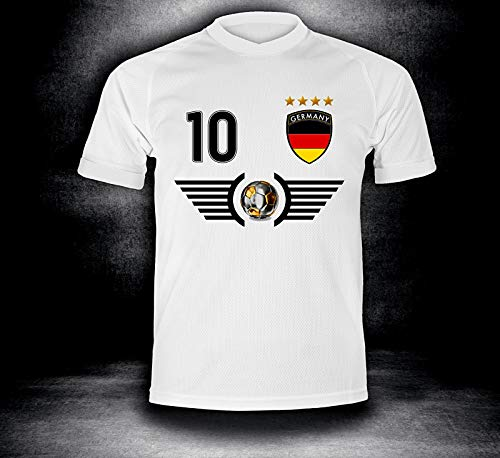 Deutschland Trikot 2018 mit GRATIS Wunschname + Nummer im EM WM Weiss Typ #DE5t - Geschenke für Kinder Erw. Jungen Baby Fußball T-Shirt Bedrucken