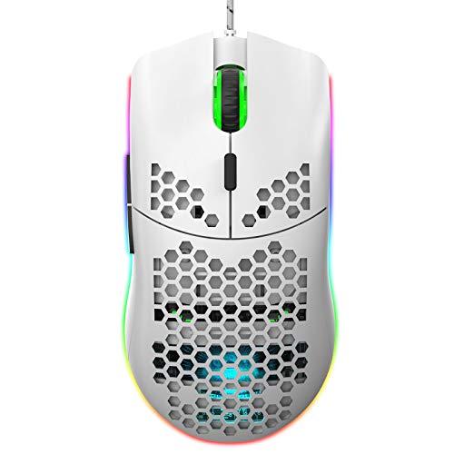 VVXXMO Ratón hueco de panal con cable de 6 botones, ratón de juego hueco para ordenador portátil