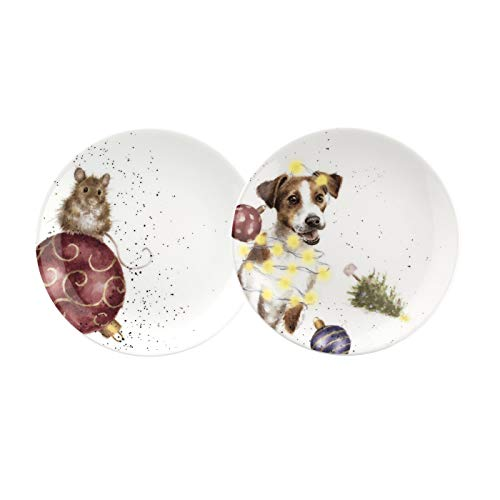 Wrendale Designs WNC3994-XW Royal Worcester Coupé Teeteller, 16,5 cm, Maus und Hund, 2 Stück