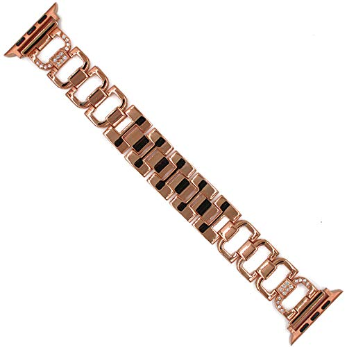 ZZSH Conveniente para El Reloj Elegante De La Manzana 38M M 1, 2, 3 Reloj Universal A, Correa del Acero Inoxidable del Iwatch De Los Accesorios De La Correa del Diamante del D-Carácter,Rosegold