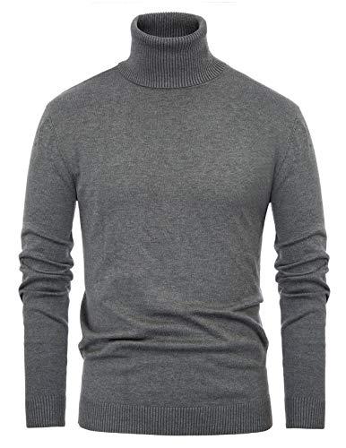 Paul Jones Men's Casual Long Sleeve Knitted Sweater Turtleneck Pullover M Grey