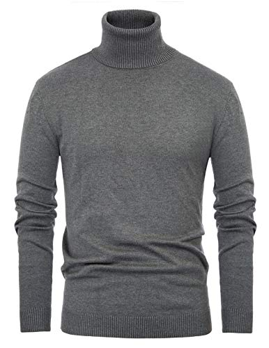 Paul Jones Men's Casual Long Sleeve Knitted Sweater Turtleneck Pullover M Grey