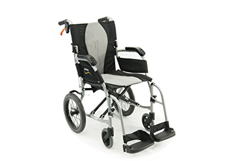 Karman Healthcare S-2512 Ergo Ultra Lightweight Transport Wheelchair is the most lightweight transport wheelchair on our list, weighing only 18 pounds