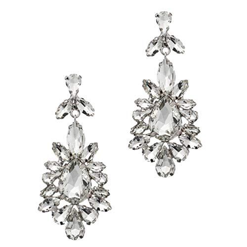 Happyyami 1 par de Pendientes de Tachuelas de Diamantes de Imitación Pendientes de Candelabro de Tono Cuelgan Pendientes de Declaración de Gota para Bodas de Plata