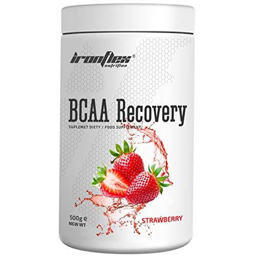 IronFlex BCAA Recovery - 1 Pack - Branched Chain Amino Acids in Powder - Muscle Regeneration - Anticatabolic - with Glutamine (Strawberry, 500g)