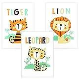 Juego de 3 imágenes para habitación infantil, cuadros infantiles para habitacion bebe, A4 laminas infantiles diseño de animales en la selva Tigre, León y Leopardo, para niñas y niños(sin marco)
