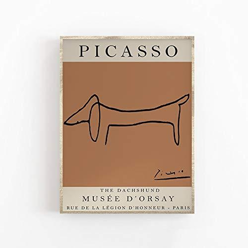 Picasso Ausstellungsplakat, Der Hund, Vintage Art, Strichzeichnung, Kunstdruck, Schlafzimmerkunst, rahmenlose dekorative Leinwandmalerei F 60x80cm