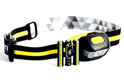 SunJack Rechargeable LED HeadLamp - Bright 210 Lumen Flashlight with Red and Wide Beam - Waterproof for Camping, Running, Reading, Hiking