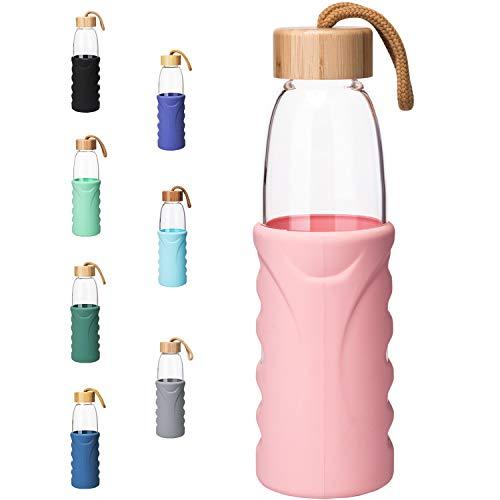 Life4u Botella de Agua de Cristal de Borosilicato de con Funda de Silicona Sin BPA 500 ml Rosado