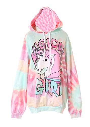 Kawaii-Story WY-1451 Magical Unicorn Girl Multicolor Pastel Goth Sudadera con capucha