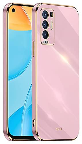 DOINK Handyhülle für Oppo Find X3 Neo Hülle, Bunte & Glänzende TPU Silikon Hülle mit Goldenem Rand Design - Violett