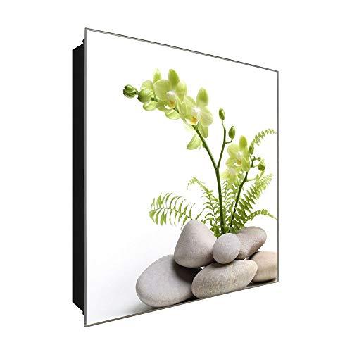 DekoGlas Schlüsselkasten 'Orchidee Steinvase' 30x30 Glas, inkl. Haken Schlüsselbrett Schlüssel-Box Design Aufbewahrung