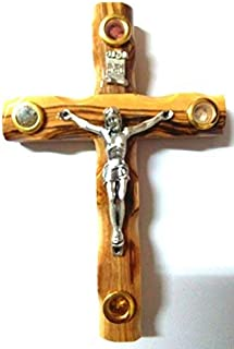 Zuluf Olive Wood Catholic Cross Hand Carved with Crucifix from Jerusalem 12cm 4.7