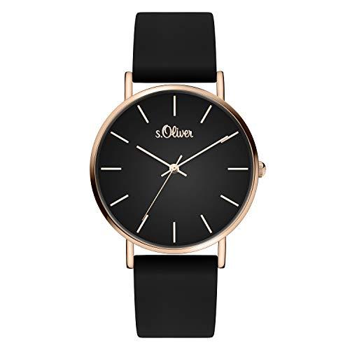 s.Oliver Damen Analog Quarz Armbanduhr mit Silikonband mit Silikon SO-4183-PQ