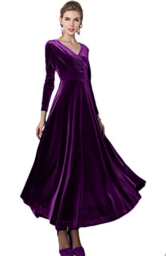 Urbancoco Damen Lange Langarm Abendkleid Maxi V-Ausschnitt Samt Party Kleid (S, lila)