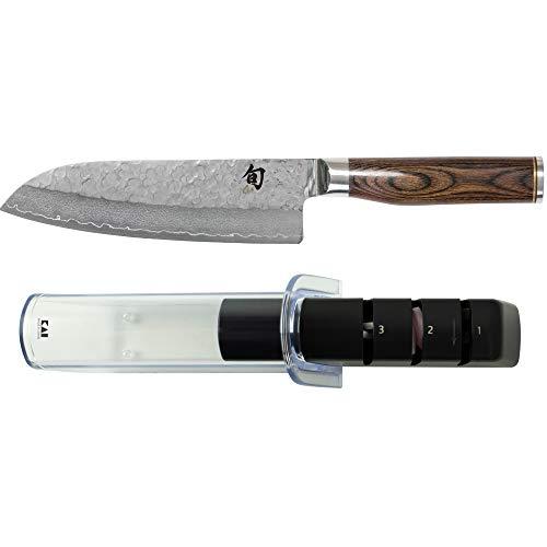 Shun Premier 7-Inch Santoku Knife and Kai Retractable Knife Sharpener Set