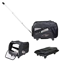 professional Smart Pet Trolley Large black trolley with wheels Foldable padded foldable …