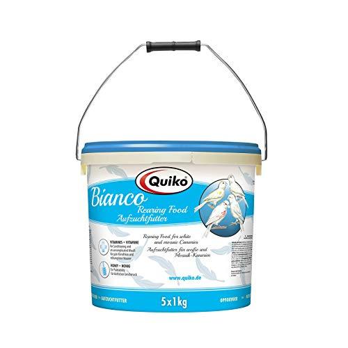 Quiko Bianco 5000g (5 x 1kg) - Aufzuchtfutter für weiße Kanarien, aufgehellte Mosaiken - Ohne Farbstoffe