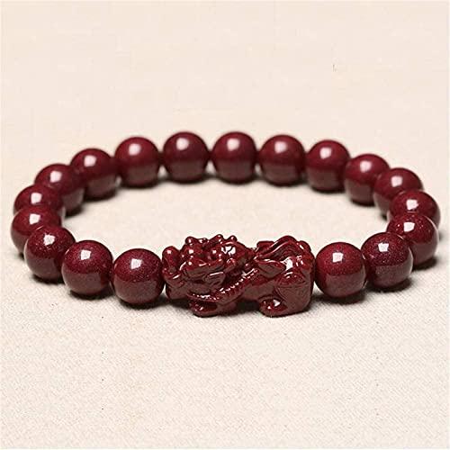 Gymqian Feng Shui Amuleto Pulsera Prosperidad Natural Genuino Cinnabar Pixiu/Piyao Pulsera Atraer Lucky Wealthy Love Transfer Regal Bangle para Mujeres/Hombres, 10Mm Exquisito /