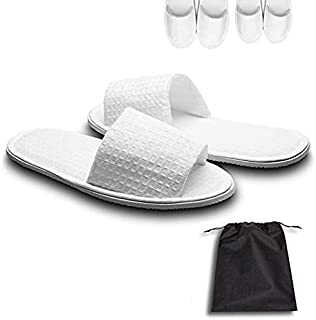 echoapple 5 Pairs of Waffle Open Toe White Slippers-One Size Fit Most Men and Women for Spa, Party Guest, Hotel and Trave...