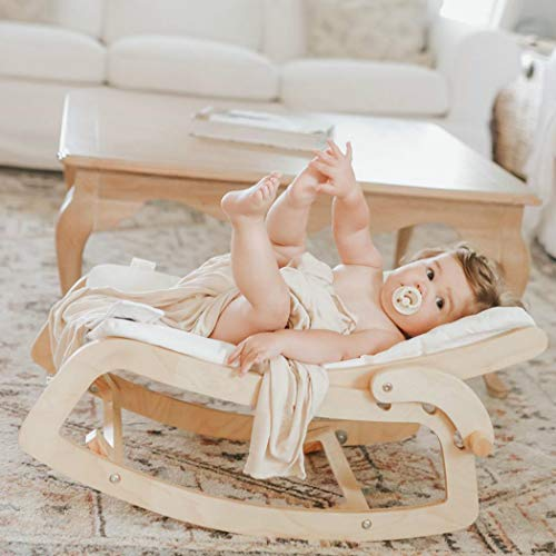 Little Dove 3-in-1 Convertible Wooden Recliner and Rocker Chair for Toddler- with Removable Cushion, Seat Belt and Booster, Baby Bouncer