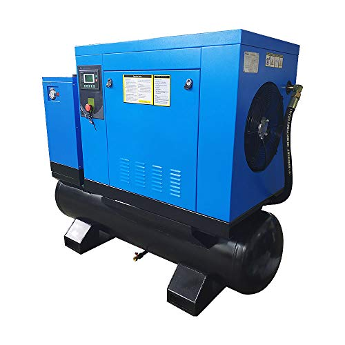 HPDAVV Total Rotary Screw Air Compressor With Tank & Refrigerated Dryer - 10HP/ 7.5KW - 40CFM/ 150PSI - 230 V/ 3-Phase/ 60Hz - 80 Gallon ASME Tank All-in-One Industrial Air Compressed System
