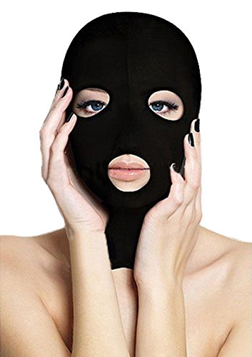 queenshiny® Zentai Capot Complet Tête Visage (Noir-3)