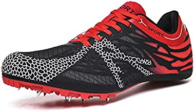 Ifrich Track Spikes Shoes Mens Womens Mesh Track and Field Athletics Sneakers Boys Girls Training Sprint Racing Track Shoes with Spikes Red